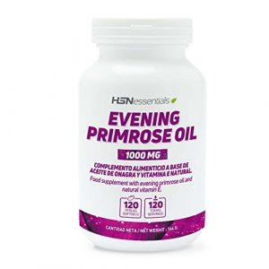 Huile d'Onagre 1000mg de HSNessentials | 10% GLA (Acide gamma-linoléique), Evening Primrose Oil, Avec del a Vitamine E naturelle | Santé Féminine, Régulateur Hormonal, Sans Gluten, 120 softgels