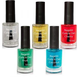 Huile pour ongles dans une bouteille de pinceau Set N°1, Peach, Lemon, Cherry, Fruits, Coconut 5x10ml