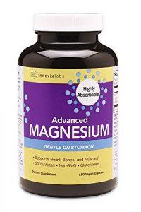 InnovixLabs Advanced Magnesium avec malate et glycinate à haute absorption. Magnésium chélaté hautement biodisponible – 200 mg par portion. Soja et sans gluten, sans OGM et végétalien. 150 gélules.