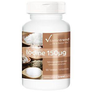 Iode 150mcg – ! POUR 6 MOIS ! – Iodure de Potassium – 100% Végan – 180 comprimés d'Iode – Contribue au métabolisme énergétique normal et à la fonction thyroïdienne normale – Flacon avantageux