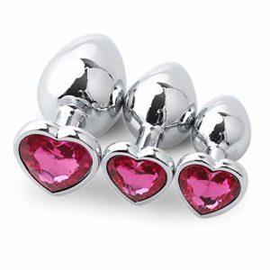 Jewelry meiqi 3 Taille Diamant En Forme De Coeur Amal Plug Massag-er Jouets – Acier Inoxydable Six Jouets pour Femmes et Couples Débutant (rose vif)