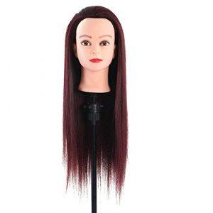 Kamenda 60 Cm Vin Rouge Longue Ligne Droite Cheveux Coiffure Pratique Mannequin Cheveux Formation Styling ModèLe Mannequin Mannequin TêTe + Pince