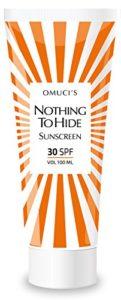 La protection solaire respectueuse de l'environnement d'Omuci Nothing To Hide. Des ingrédients naturels adaptés pour les végétaliens. Protection UVA + UVB.(30 SPF, 100ml)
