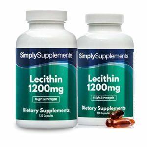 Lecithine 1200mg |Extrait de graines de soja non genetiquement modifiees | 240 Gelules | Jusqu'à 4 mois de bienfaits | SimplySupplements