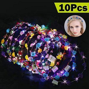 LED Bandeau Fleur, 10 Pièces Bandeau de Couronne Florale Guirlande de Fleurs Bandeau Headband pour Fille Femme Accessoires Cheveux Mariage Fête Bal Masqué