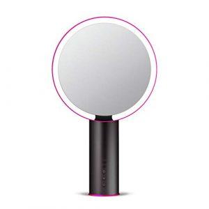 LED,Miroir grossissant de vanité de maquillage avec des lumières, miroirs lumineux d'allumage de cosmétique portatif allumé par LED pour le dessus de table à la maison 8 – rechargeable-black