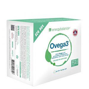 Les gélules d'oméga-3 Ovega3 360 avec trois antioxydants naturels : l'astaxanthine, la Q10, et la vitamine C. Sans gélatine, sans substances nocives (1×220 g).