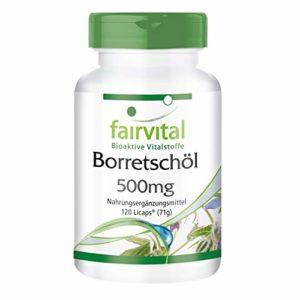 L'huile de bourrache 500mg – pendant 2 mois – végan – dose élevée – 120 Licaps – riche en acide gamma linolénique (oméga-6)