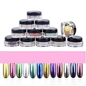 LHWY 2017 12 couleurs Glitter poudre Shinning ongles miroir maquillage Art bricolage Chrome Pigment de la poudre avec une éponge bâton des ongles