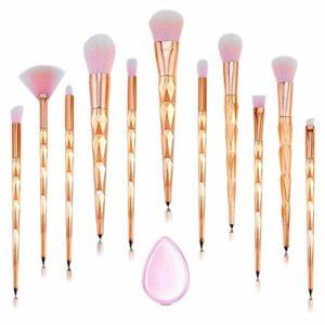 Licorne professionnel maquillage pinceaux 11 PCS rose diamant poignée pinceau de maquillage ensemble fond de teint Blush fard à paupières visage poudre Pinceau maquillage pinceaux Kit de maquillage avec Silicone composent éponge et maquillage sac par C.RAVE