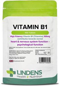 Lindens – Vitamine B1 – 100mg – 100 tabs