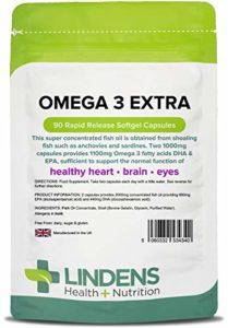 Lindens Huile de poisson oméga 3 Extra 1000 mg en gélules | 90 Lot | 1100 mg d'acide gras oméga 3 DHA & EPA pour 2 capsules. Contribue au bon fonctionnement du cœur, du cerveau et d'yeux en bonne santé