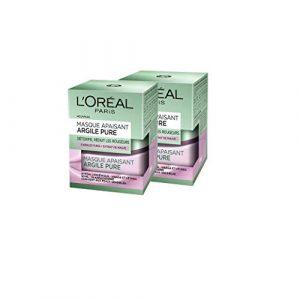 L'Oréal Paris – Masque Apaisant Pour Le Visage – Argile Pure – 50 ml – Lot de 2
