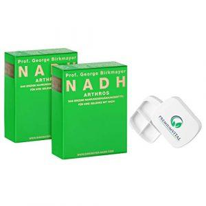 Lot de 2 boîtes à pilules Prof. George Birkmayer NADH – Arthros (60 gélules, 20 mg NADH/Coenzym 1 par comprimé) – Offre des avantages + Pilulier de Premiumvital