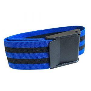 Lot de 2 bracelets d'entraînement à l'occlusion pour restrictions de flux sanguin avec boucle à dégagement rapide – Bordure bleue noire
