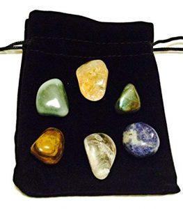 Lot de 6 pierres polies pour attirer l'argent – Citrine, labradorite, quartz transparent, œil de tigre, sodalite, aventurine verte