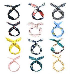 LZYMSZ 12PCS Twist Bow Wired Headbands, Bandeau en Fleur de fer Noué Noeud de fer, Bandeau Tête de Yoga Wraps Sport, Vintage Imprimé Criss Cross Noué Pour les Femmes Filles (12-SS)