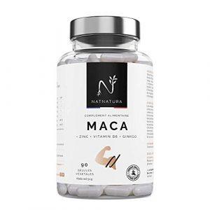 Maca + L-Arginine + Zinc + Vitamine B6 + Ginkgo. Capsules de Maca à forte concentration (25:1). Performances masculines. 90 gélules végétales