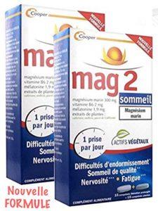 Mag 2 Sommeil Pack 1 Mois – NOUVELLE FORMULE – Difficultés d'endormissement, nervosité, fatigue – Lot de 2 x (15 comp LP + 15 comp. plantes)