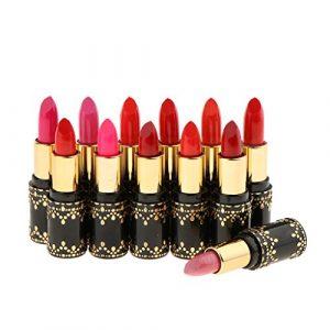 MagiDeal Waterproof Rouge à Lèvres Velvet Matte Lot de 12 Couleurs Lipstick Liquide Matte Lip Gloss Pigmenté Baume à Lèvres Hydratant et Longue Tenue