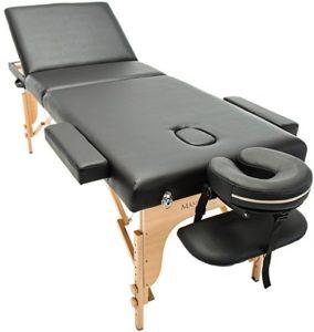 Massage Imperial® Chalfont -Table de massage Portable pro luxe – 3 Zones – Panneaux Reiki – Légère – Couleur : Noir