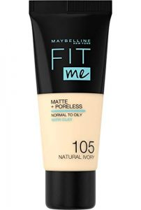 Maybelline New-York – Fond de Teint Fluide Fit Me Matte & Poreless – Peaux normales à grasses – teinte : 105 Ivoire Naturel – 30 ml