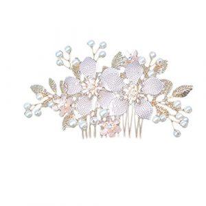 Minkissy Fleur Tissage Peigne à Cheveux Perle Alliage Fil Casque Coiffes de Cheveux de Mariée Accessoires de Bijoux de Cheveux de Mariage (Doré)