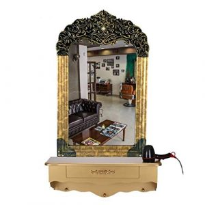 Miroir de Coiffeur Côté Unique Fixation Murale avec tiroir Salon de Coiffure Style européen rétro Convient pour Salon de Coiffure, Salon de Coiffure, Salon