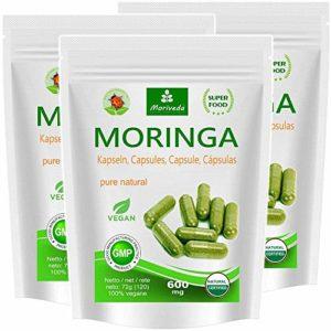Moringa capsules 600mg ou Moringa Energy Tabs 950mg – Oleifera, végétalien, Produit de qualité de MoriVeda (360 capsules)