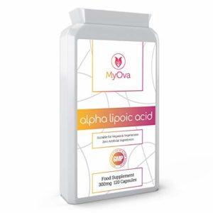 MyOva – 120 gélules d'acide lipoïque (ALA) de 300 mg – complément alimentaire pour système nerveux sain et glycémie normale – fabriqué au Royaume-Uni