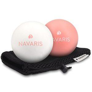 Navaris Set 2 Balles de Massage – Balles Lacrosse Auto-Massage avec Sac – 2X Boule pour Masser Dos, Main, Pied, Cou – Relaxation, Sport, Rééducation