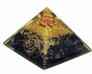 Noir Tourmaline Orgonite Pyramid/reiki Crytsal pyramides pour Guérir et Chakra Décoration 65mm avec étui