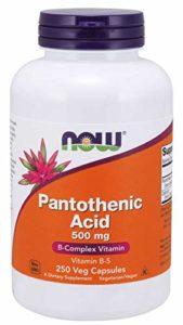 Now Nutrition Acide pantothénique Vitamine B5 250 capsules 500 mg