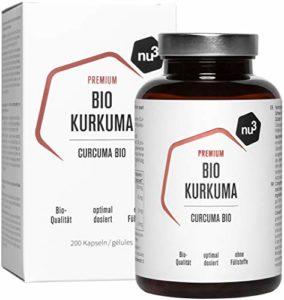 nu3 – Curcuma Bio | 200 Gélules | Gélules de curcuma vegan | Haute teneur en curcumine et en pipérine naturelles provenant d'extraits de poivre noir