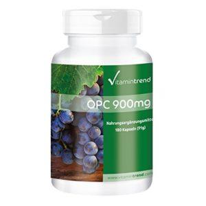 OPC 900mg dose journalière – 180 gélules végétaliennes – haute qualité, extrait de pépins de raisin normalisé avec 95% d'OPC