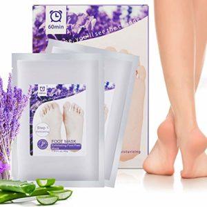 Peeling pied, 2 Pcs Masque Pieds Peeling Hydratant – Masque Pieds Chaussette pour les Pieds Secs, Soins des Pieds, Enlever Callosité dans, Lavande(Peeling blanchiment)