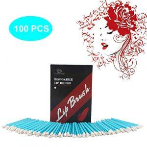 Pinceau a Levres Jettable,LUOLLOVE Brosse Applicateur Propre et Hygiénique,100 Pcs/Sac Dans une Belle Boite (Rouge Rose)