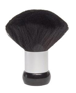 Pinceau de cou super doux et léger en nylon pour salon de coiffure, barbier, barbier, outil de coupe de cheveux, noir et argent