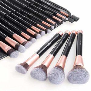 Pinceaux Maquillage Anjou Kit de 16pcs, Doux et Sans Cruaute, Poils Synthetiques, Design Or Rose, Pochette Elegante Cuir PU Incluse – Or Rose