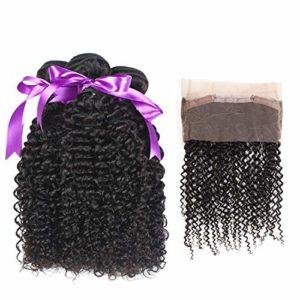 Pour les extensions de cheveux pour femmes Combinaison de Perruque 360 Dentelle Frontal Avec 3 Bundles Cheveux Malaysien Kinky Bouclés Bundles Avec Fermeture 100% Cheveux Humains Non Remy