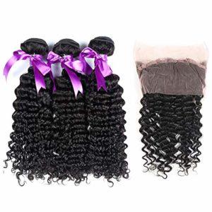 Pour les extensions de cheveux pour femmes Perruque de cheveux humains 360 Lace Frontale avec 3 faisceaux Bundles brésiliens de vague profonde avec la fermeture 100% de faisceaux de cheveux humains