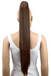 PRETTYSHOP Postiche queue de cheval d'extension de cheveux queue de cheval chaleur lisse résistant 70cm mélange brun # 2T30 H81
