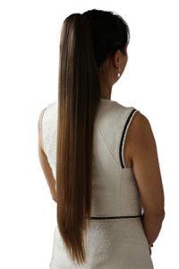 PRETTYSHOP Postiche queue de cheval d'extension de cheveux queue de cheval chaleur lisse résistant 70cm Ombré brun 6T27 brun # H117
