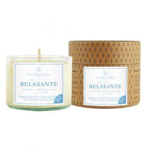 Pur Bien-Être Bougie Artisanale Relaxante Parfumée aux Huiles Essentielles Bio de Lavande Fine et d'Ylang-Ylang, Fait à la Main, Cire 100% Naturelle et Écoresponsable