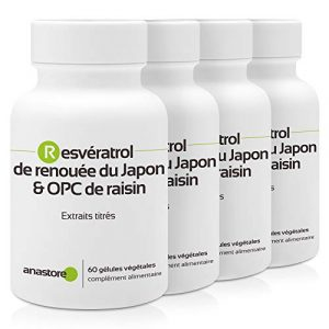 Resvératrol & OPC de raisin * PACK 3+1 GRATUIT * 60 mg / 240 gélules * Titré à 95% en proanthocyanidines et à 50% en resvératrol * Antioxydants, Cardiovasculaire (circulation), Prostate.