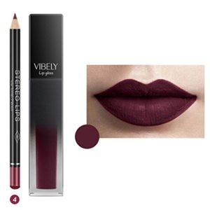 Rouge à Lèvres, AMUSTER Longue Durée de Rouge à Lèvres Imperméable à L'eau Mat Liquide Gloss Lip Liner Set de cosmétiques (4)