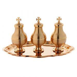 Saintes huiles: Ensemble Trois Ampoules Plateau Laiton, Golden