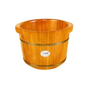 Sels de bain Seau de bain de pied maison estampage pied bain baril Baignoire de pied de bois massage pied bain baignoire perle (Color : Wood color, Size : 36*30*25 cm)