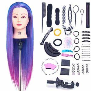 SIGHTLING 26″ Têtes d'exercice Têtes à Coiffer 100% Cheveux Synthétiques Violet Synthetiques Cheveux pour le Salon Coiffeur Poupée avec Support+Ensemble de Tresse