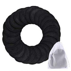 SIQUK 24Pcs Tampons démaquillants en bambou Tampons en coton réutilisables 2 Couches Noires Lavables Lingettes nettoyantes pour le visage avec sac à linge pour maquillage des yeux Supprimer